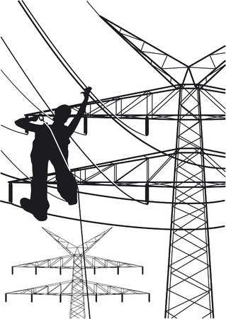 electrical tower: electrical tower constructions works Illustration