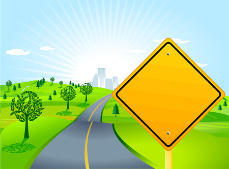 scenery with road sign Stock Vector - 8948472