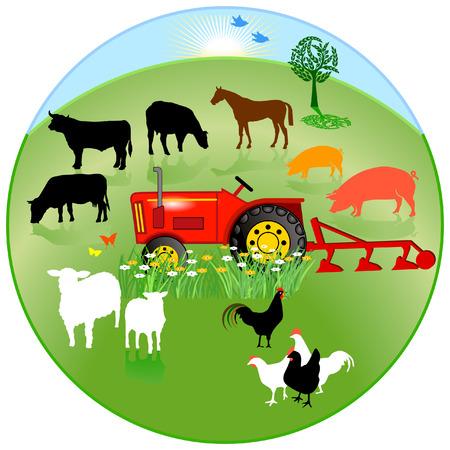 plowing: signo de c�rculo de agricultura Vectores