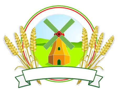 KA: grain and mill label Illustration