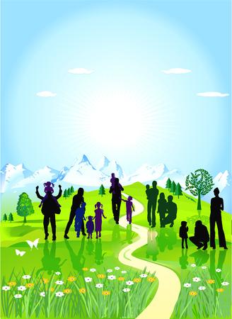 familia parque: familias en el prado verde
