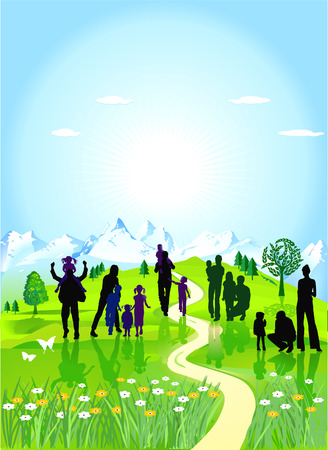 family trip: families in the green meadow Illustration