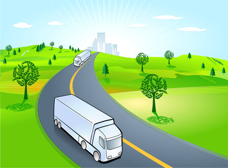 truck on highway: forwarding company, truck