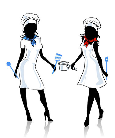 two female cook Stock Vector - 8994835