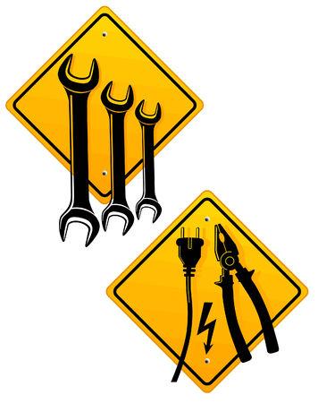 onderhoud auto: reparatie winkel teken, auto reparatiewerkplaats Stock Illustratie