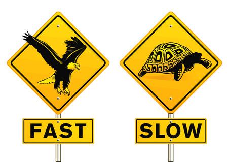 despacio: Inicio de sesión rápido y lento Vectores