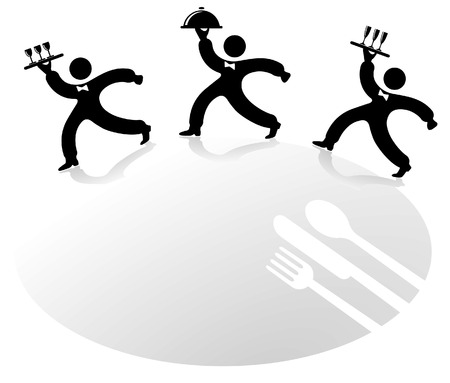 restaurant table: the three waiter Illustration