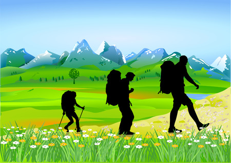 people hiking: trekking in the high mountains