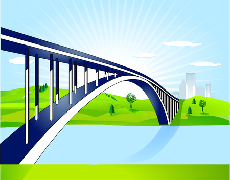 bridge over water: bridge over water Illustration