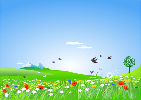 countryside springlike Stock Vector - 9069233