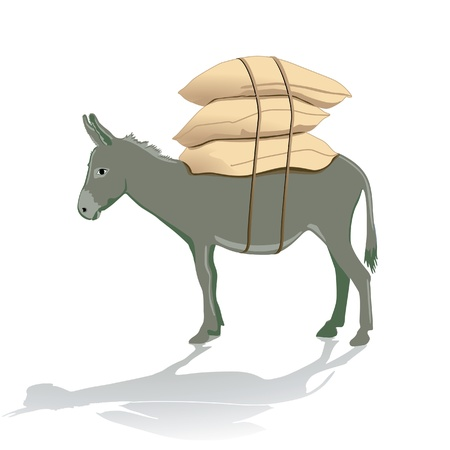 donkey: bear heavy burden Stock Illustratie