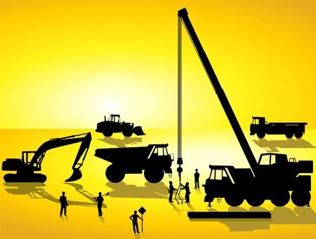 asphalt: construction site at sunrise Illustration
