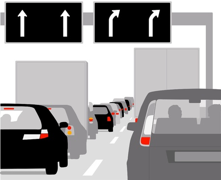 towards: traffic jam with rows of cars Illustration