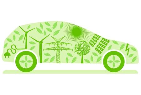 bateria: Coche eléctrico ecológico Vectores