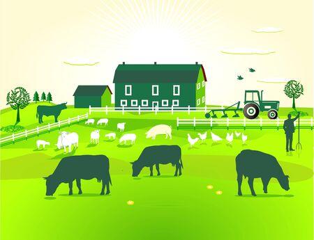 bauernhof: gr�ne Farm Illustration
