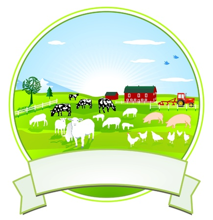land mammals: Farm-Button Illustration