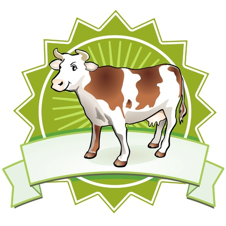 dairy cattle: Quality Cow Sign Illustration