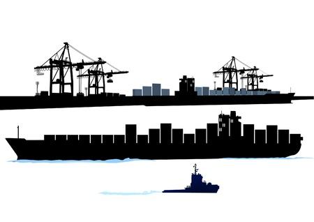 storehouse: Puerto con barco de contenedores Vectores