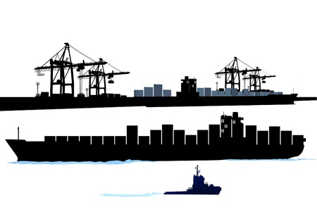 maritimo: Puerto con barco de contenedores Vectores