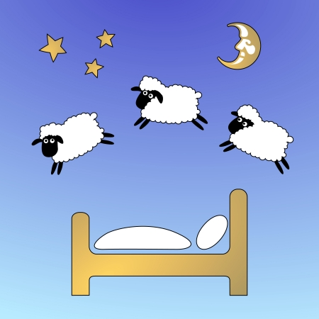 sheep on the sky jumping fence Vector