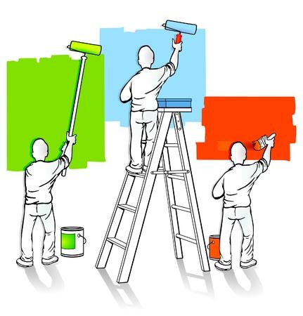 work task: three painters Illustration