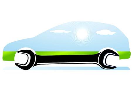 onderhoud auto: Auto-reparatie Stock Illustratie