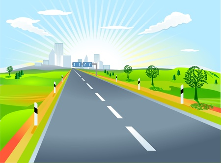 Landscape with road Stock Vector - 9717092