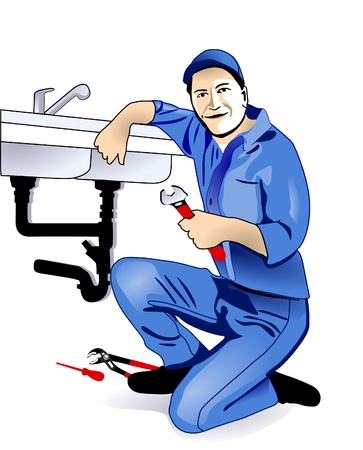 maintenance man: plumber fixing a sink at kitchen Illustration