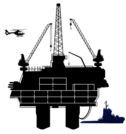 oil exploration: oil drilling rig, in offshore area Illustration