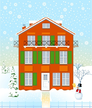 House in the winter time Vector