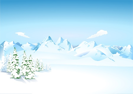 mountain skier: Mountains in the snow Illustration