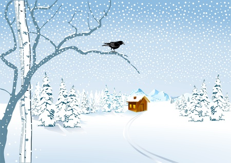 birch forest: a cottage in the snow Illustration