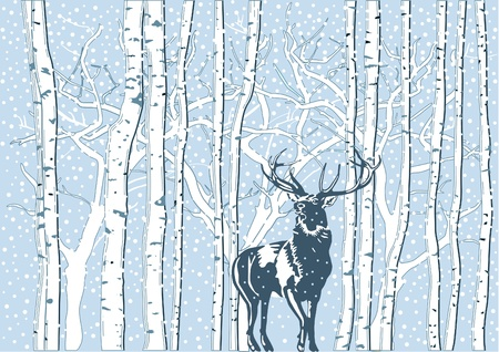 Deer in snow Stock Vector - 9784280