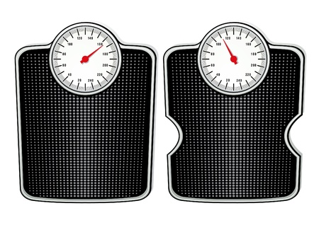 fat to thin: two bathroom scales