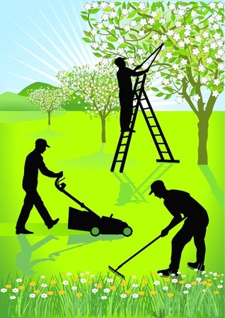 the greenhouse: Gardeners gardening