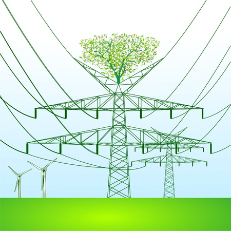 volts: green power pole Illustration