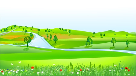 hilly landscape Stock Vector - 9896456