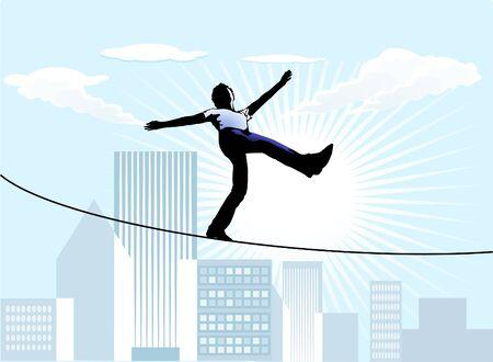 tightrope walker Stock Vector - 9896470