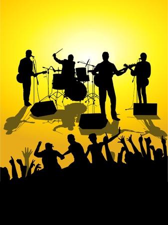 guitariste: concert en plein air Illustration