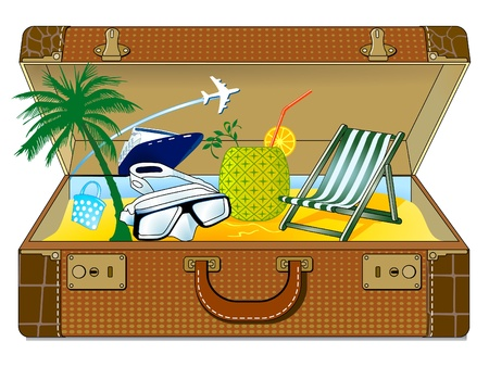 Travel suitcase with many colourful tourism and vacation Stock Vector - 9896487