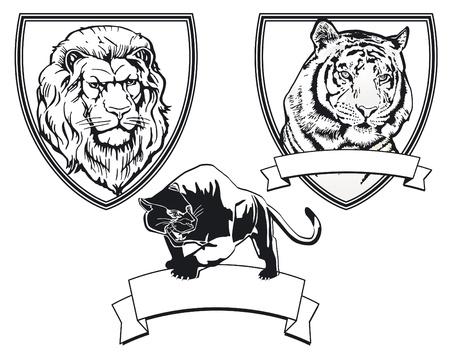 leopard head: Predator emblem Illustration