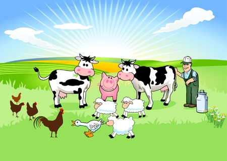 Farmer and his Animals Vector
