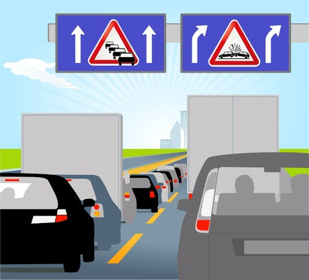 Casualty and traffic jam Stock Vector - 9897024