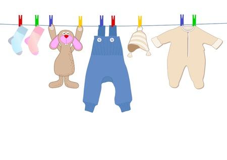 ropa de beb�: Bunny y ropa de beb� Vectores