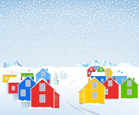 wooden houses: colorful wooden houses in the winter