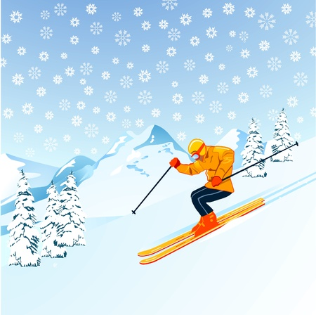 Skiers in the mountains Vector