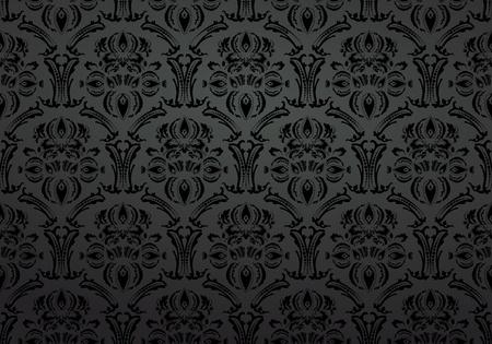 granero: Textil papel tapiz de fondo ornamento negro Vectores