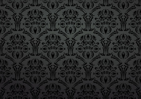 Textile wallpaper ornament black background Stock Vector - 10120606