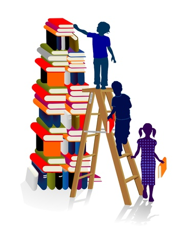 teaching children: Stacks of books with children