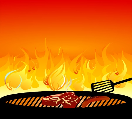 grill meat: barbecue grill incendie